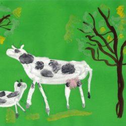 Корова с теленком. Шкляр Алиса 6 лет.
